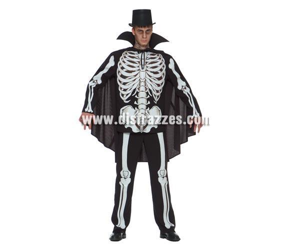Disfraz de Esqueleto para Halloween de hombre. Talla única 52/54. Incluye pantalón, camisa  y capa. Sombrero o Chistera NO incluido, podrás verlo en la sección de Complementos.