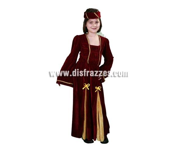 Disfraz barato de Lady Medieval para Carnaval. Talla de 10 a 12 años. Incluye tocado y vestido.
