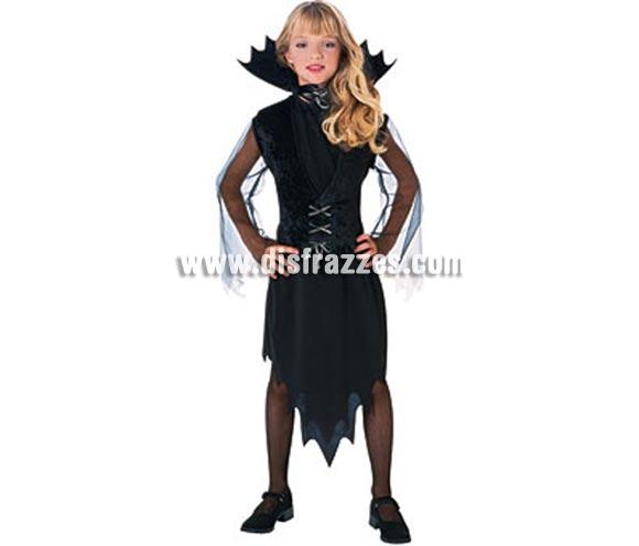 Disfraz de La Vampira Muriciélago infantil para Halloween. De la película LOS MALDITOS estrenada el 10/03/2010. Talla de 5 a 7 años. Incluye vestido, cuello y chaleco de terciopelo.