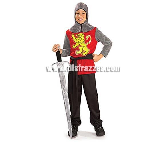 Disfraz de Ricardo Corazón de León infantil. Talla de 5 a 7 años. Incluye túnica con cinturón y capucha de malla. Disfraz de Rey Medieval.