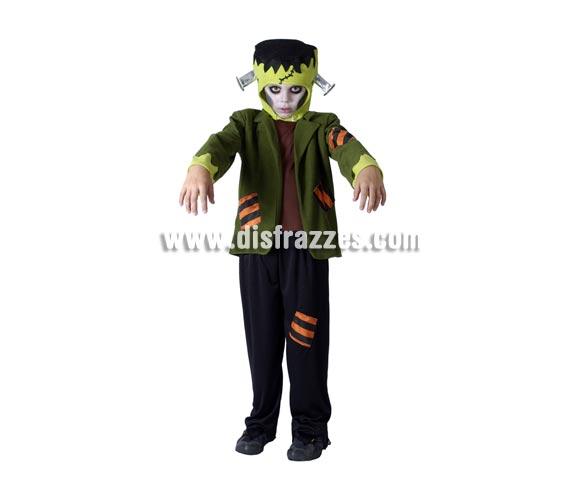 Disfraz de Monstruo Frankenstein barato para Halloween. Talla de 5 a 6 años. Incluye gorro, chaqueta y pantalón.