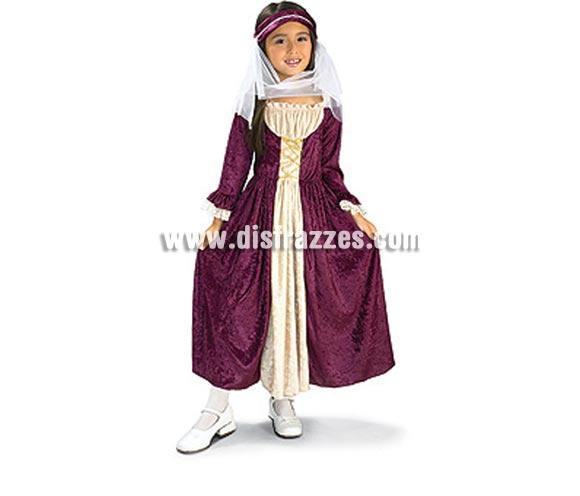 Disfraz de Chica Medieval infantil. Talla de 3 a 4 años. Incluye vestido con tocado y velo. Disfraz de Doncella o Dama Medieval infantil.