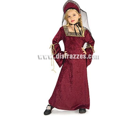 Disfraz de Lady Medieval infantil. Talla de 5 a 7 años. Incluye vestido con tocado y velo. Disfraz de Doncella o Dama Medieval infantil.