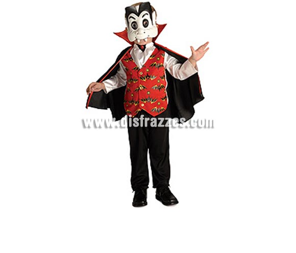 Disfraz de Vampiro bebé para Halloween. Talla de 1 a 2 años. Incluye camisa con chaleco, pantalones, capa y máscara.