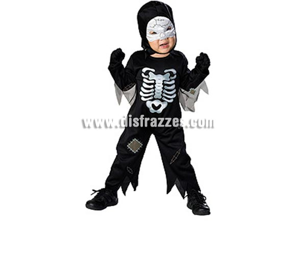 Disfraz de Skeleton bebé para Halloween. Talla de 1 a 2 años, Incluye mono y gorro con máscara.