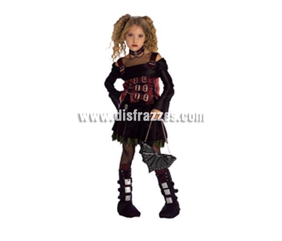 Disfraz de Vampiresa Trendy infantil para Halloween. Talla de 8 a 10 años. Incluye vestido con hebillas.