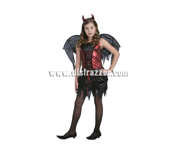 Disfraz de Diablesa con alas barato para Halloween. Talla de 7 a 9 años. Incluye vestido, alas y cuernos.