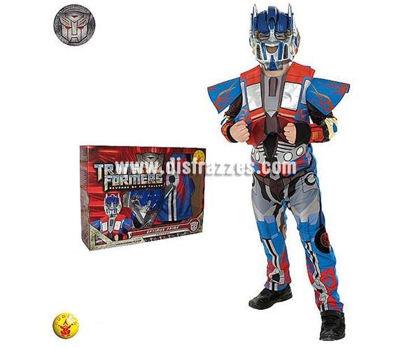 Disfraz de Transformers Optimus Prime infantil para Carnaval o para regalar en Navidad. Talla de 7 a 8 años. Incluye mono con pecho de eva y máscara. Presentación en caja para regalo.