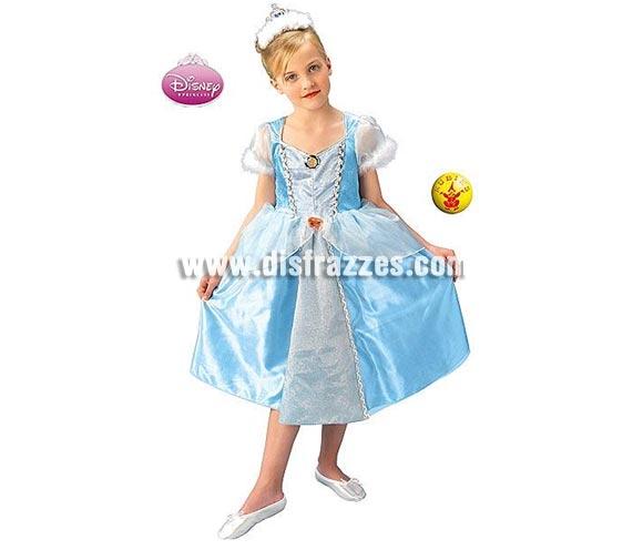 Disfraz de La Cenicienta deluxe en caja infantil para Carnaval o para regalar en Navidad y Reyes Magos. Talla de 7 a 8 años. Incluye vestido y tiara.