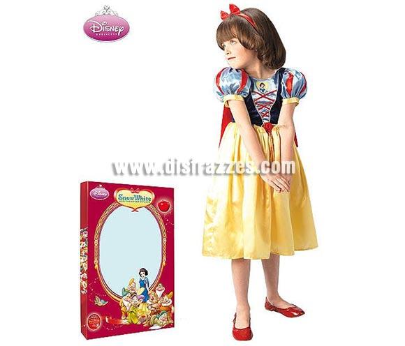 Disfraz de Blancanieves deluxe en caja infantil para Carnaval o para regalar en Navidad y Reyes Magos. Talla de 7 a 10 años. Incluye vestido, diadema y capa.
