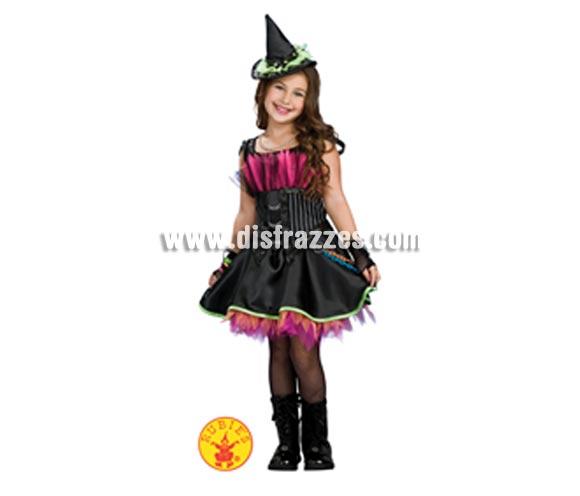 Disfraz de Bruja Rockin Out infantil para Halloween. Talla de 8 a 10 años. Incluye vestido con tul y diadema con sombrero.