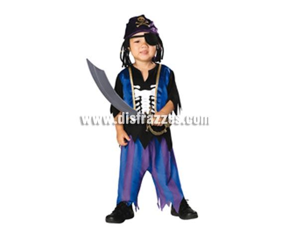 Disfraz de Skeleton Pirata bebé para Halloween. Talla de 1 a 2 años. Incluye camisa impresa con chaleco, pantalones, bandana y parche pirata.