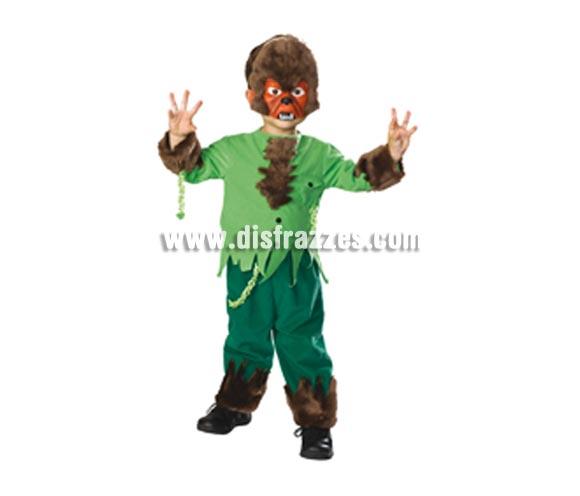 Disfraz de Hombre lobo bebé para Halloween. Talla de 1 a 2 años. Incluye camisa, pantalones y máscara.