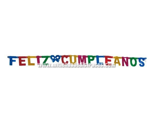 Letrero FELIZ CUMPLEAÑOS 11x75 cms. Para adornar cualquier Fiesta de Cumpleaños.