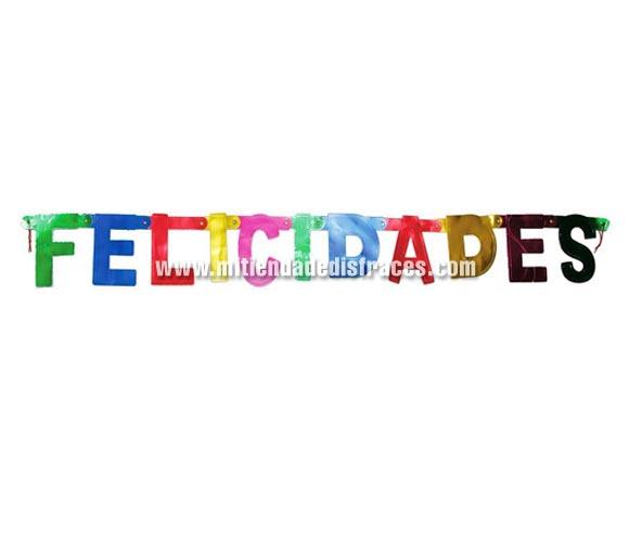 Letrero FELICIDADES 11x75 cms. Ideal para adornar cualquier Fiesta de Cumpleaños o cualquier tipo de celebración.