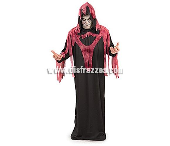 Disfraz de Fantasma del Infierno adulto para Halloween. Talla estándar de hombre. Incluye túnica negra con capucha y flecos rojos.