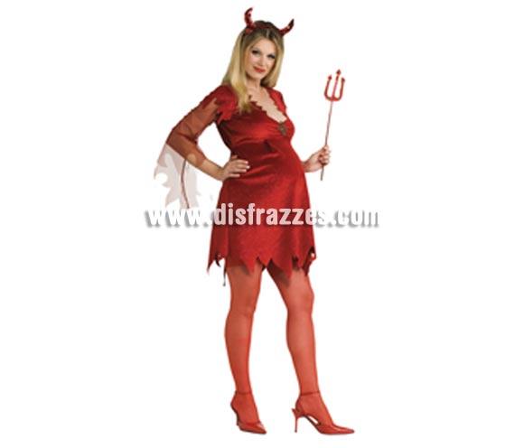 Disfraz de Diablesa Pre-Mamá para Halloween. Incluye vestido con broche y diadema con cuernos. Tridente NO incluido, podrás verlos en la sección Complementos con la ref. 616SR.