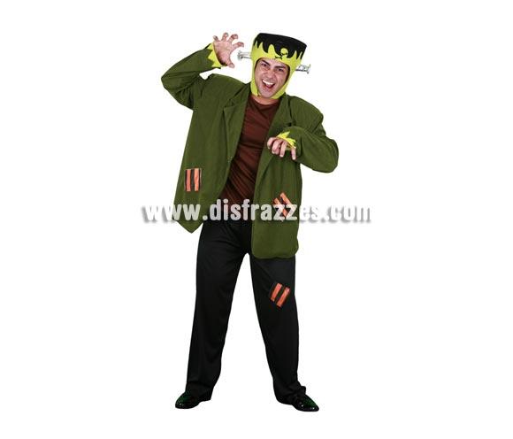 Disfraz de Monstruo Frankenstein adulto para Halloween. Talla Standar M-L = 52/54. Incluye chaqueta con camisa, pantalón y sombrero.