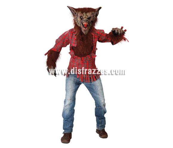 Disfraz de Hombre Lobo adulto para Halloween o para Carnaval. Talla única 52/54. Incluye careta, camisa con pelo y garras.