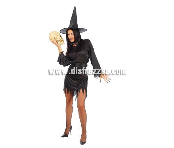 Disfraz de Bruja adulta económica para Halloween. Talla única válida hasta la 42/44. Incluye vestido, cinturón y sombrero. Peluca NO inclucida, podrás verla en la sección Pelucas para Halloween.