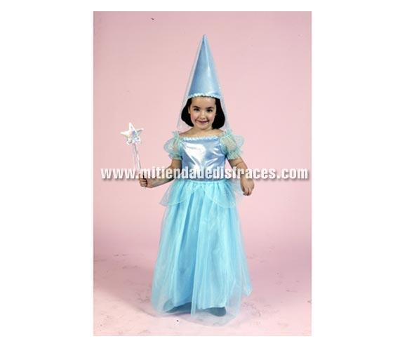 Disfraz de Hada Azul infantil. Talla de 2 a 4 años. Incluye vestido y sombrero.