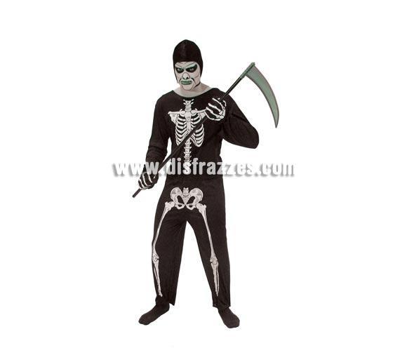 Disfraz de Esqueleto para Halloween adulto barato. Talla única 52/54. Incluye traje y capucha. Guantes NO incluidos y Guadaña NO incluidos, podrás verlos en la sección Complementos de Halloween.