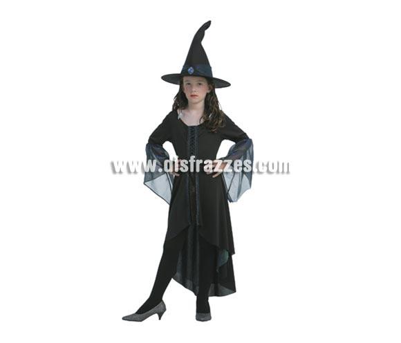 Disfraz de Bruja Brillante infantil para Halloween barato. Talla de 10 a 12 años. Incluye vestido y sombrero.