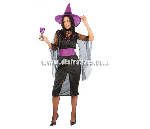 Disfraz de Bruja Negra para Halloween adulta barato. Talla única válida hasta la 42/44. Incluye falda, sombrero, blusa y cinturón. Peluca NO incluida, podrás verla en la sección de Pelucas de Halloween.