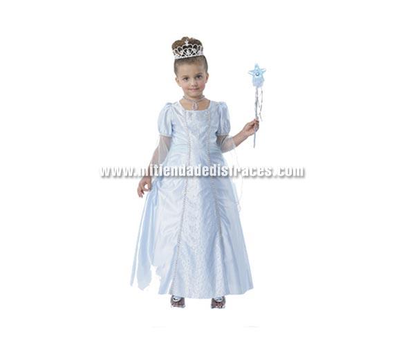 Disfraz de Cenicienta Azul infantil. Talla de 7 a 9 años. Incluye vestido y tocado. Varita NO incluida, podrás ver varitas en la Sección Complementos y Accesorios. Disfraz de Princesa Azul para niñas.