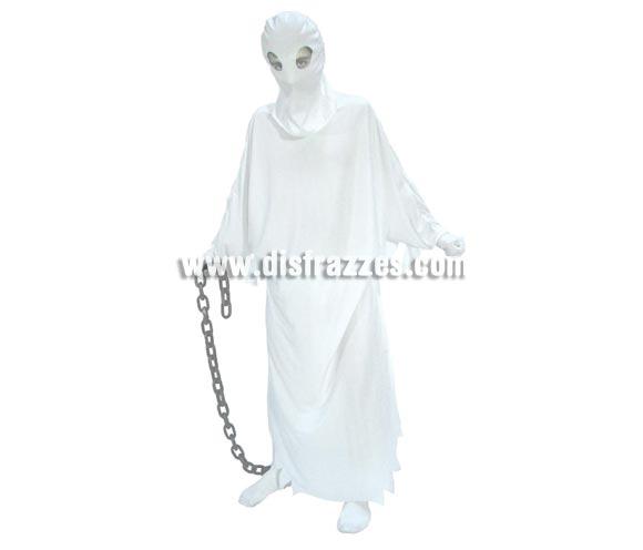 Disfraz de Fantasma adulto barato para Halloween. Talla única 52/54. Incluye capucha y túnica. Cadena NO incluida, podrás verla en la sección Complementos.