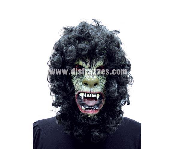Careta o Máscara de hombre lobo con pelo negro rizado para Halloween.