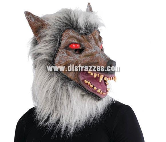Máscara de lobo con pelo para Halloween. Se parece a la cara con la que salía Michael Jackson en Thriller cuando se convertía en Hombre Lobo.