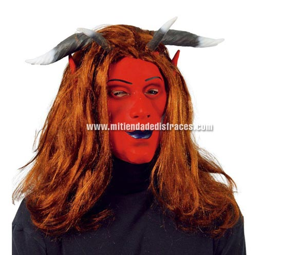 Máscara de Demonio o Diablo con pelo y cuernos.