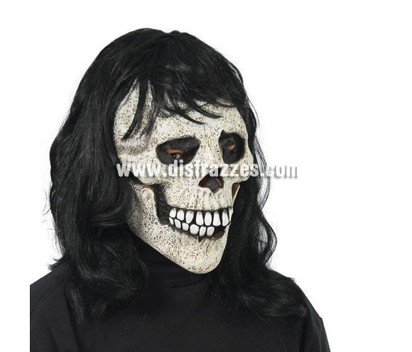 Máscara o Careta de Calavera con pelo muy negro para Halloween.