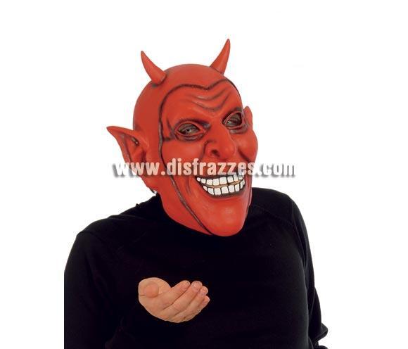 Careta o Máscara de Demonio o Diablo con cuernos para Halloween.