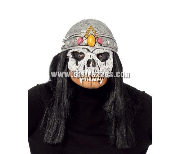 Máscara o Careta de Calavera con pelo negro para Halloween.