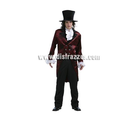 Disfraz de Noble Vampiro adulto para Halloween. Talla estándar 52/54. Disfraz de Vampiro lujo de buena calidad y elegante diseño para Halloween que incluye abrigo, chorreras y sombrero.