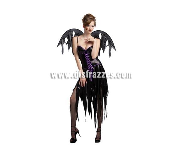 Disfraz de Diablesa o Vampira Gótica adulta para Halloween. Talla estándar M-L = 38/42. Disfraz barato para Halloween que incluye vestido y alas.