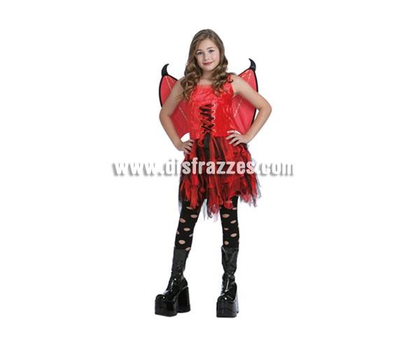Disfraz de Hada Carmesí infantil barato para Halloween. Talla de 7 a 9 años. Incluye vestido y alas.