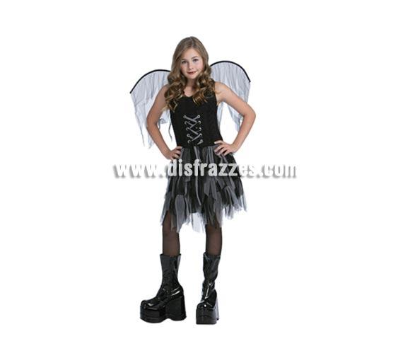 Disfraz de Hada Oscura con alas infantil para Halloween barato. Talla de 7 a 9 años. Incluye vestido, guantes, alas, gargantilla y tocado (cuernos). Tridente NO incluido, podrás verlo en la seción Complementos.