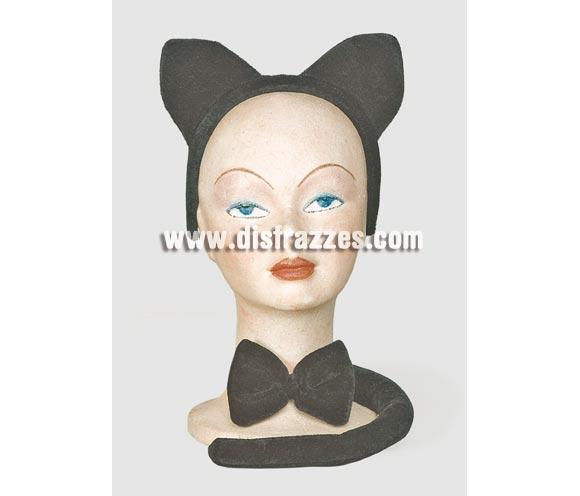 Complemento Gato (3 piezas). Incluye diadema con orejas, lazo y cola. Ideal como complemento para una Despedida de Soltera.