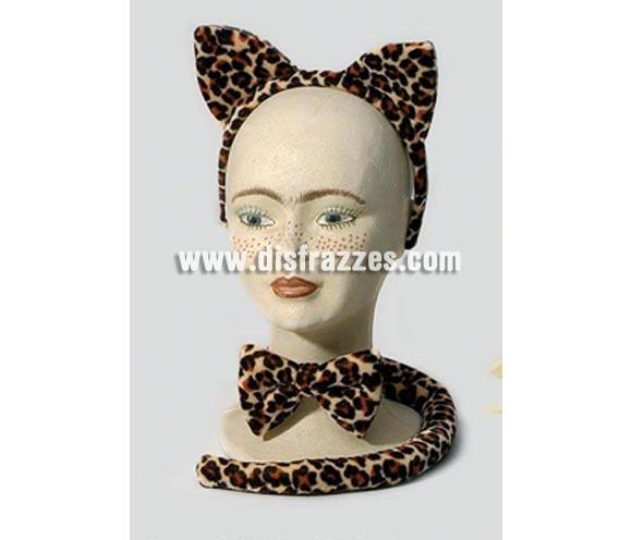Complemento Leopardo (3 piezas). Incluye diadema con orejas, lazo y cola. Ideal para Despedidas de Soltera.