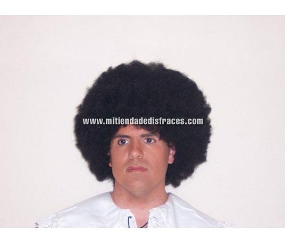 Peluca afro pelo de 16 cm. negra. Muy buena calidad. Fabricada en España. Talla Universal.