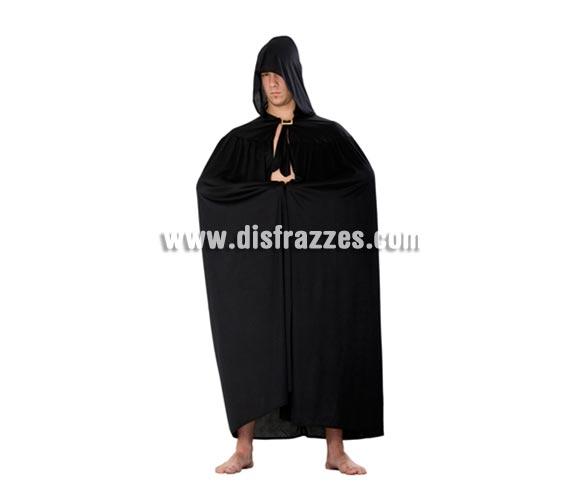 Capa con capucha de punto de color negra para Halloween. Capa de Vampiro o de Muerte de Halloween en talla única de adultos mide 1.40cm.