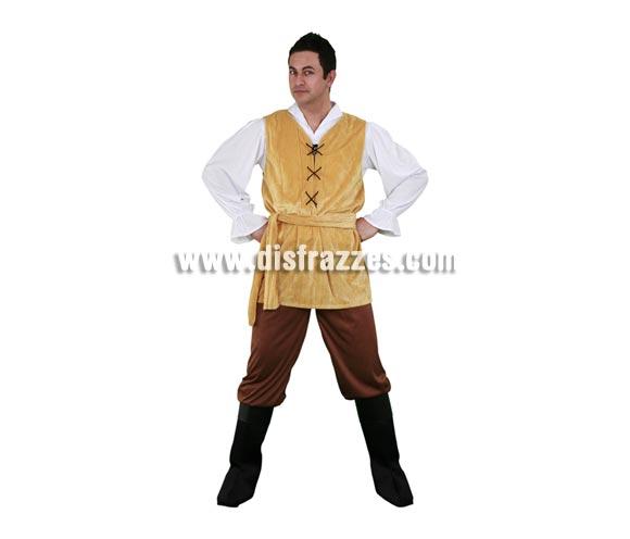Disfraz barato de Mesonero o Bandido para hombre. Talla standar M-L 52/54. Incluye camisa, chaleco, cinturón, pantalones y cubrebotas. Disfraz de Posadero o Tabernero.