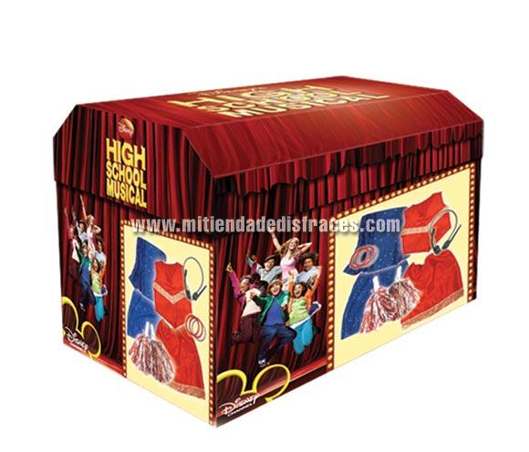 Baúl High School Musical (HSM). Contiene 10 piezas. Talla de 5 a 6 años. Disfraz  con licencia Disney ideal para regalar en Navidad o para cualquier acontecimiento.
