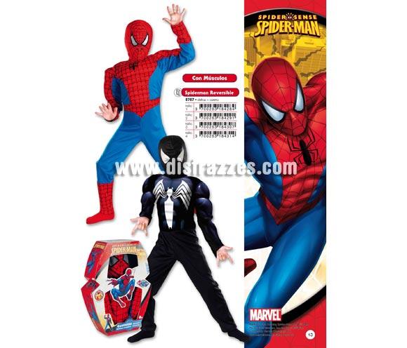 Disfraz de Spiderman reversible infantil para Carnaval. Disponible en varias tallas. Incluye disfraz y careta. Presentación en caja regalo. Disfraz con licencia MARVEL perfecto como regalo. Éste traje es perfecto para Carnaval y como regalo en Navidad, en Reyes Magos, para un Cumpleaños o en cualquier ocasión del año. Con éste disfraz harás un regalo diferente y que seguro que a los peques les encantará y hará que desarrollen su imaginación y que jueguen haciendo valer su fantasía.  ¡¡Compra tu disfraz para Carnaval o para regalar en Navidad o en Reyes Magos en nuestra tienda de disfraces, será divertido y quedarás muy bien!!