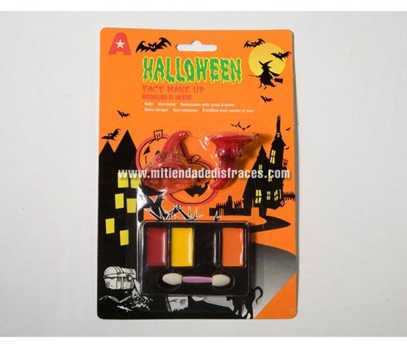 Set de maquillaje Halloween 4 colores con cuernos de látex.