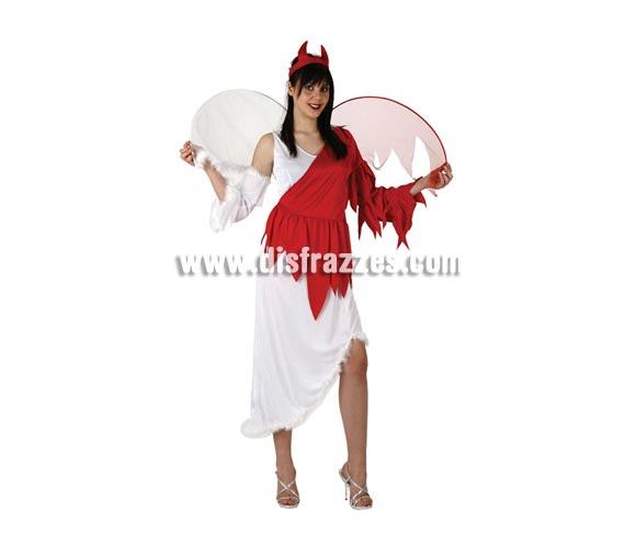 Disfraz de Angel Vs Demonio adulta para Halloween. Talla estándar M-L = 38/42. Alas incluidas. Éste disfraz de Halloween es ideal para celebrar la Fiesta de la Noche de las Brujas en Pub's, Discotecas, Casas particulares,  Restaurantes o Colegios y ayudar a crear un ambiente terrorífico y tenebroso indispensable para la Noche de Halloween la cual se celebra la víspera de Todos los Santos. ¡¡Compra tu disfraz para Halloween en nuestra tienda de disfraces, será divertido!!