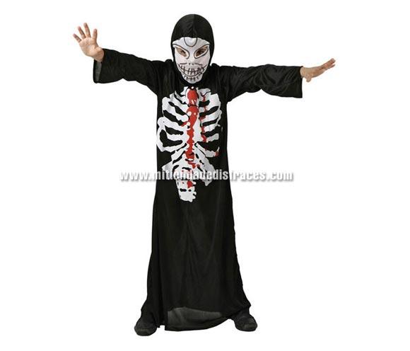Disfraz de Esqueleto Tinieblas Económico talla de 7 a 9 años. Incluye túnica y máscara.